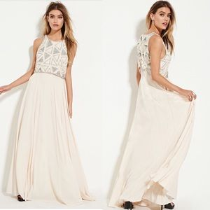 Forever 21 sequin bead chiffon maxi party Dress S